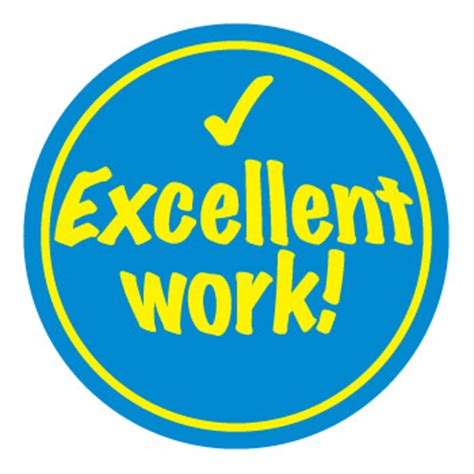 'excellent Work' Sticker (35mm)  Packs Of 100, 250 Or 500