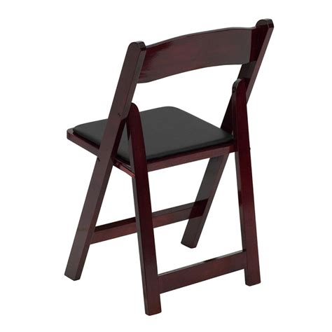 hercules series mahogany wood folding chair padded vinyl