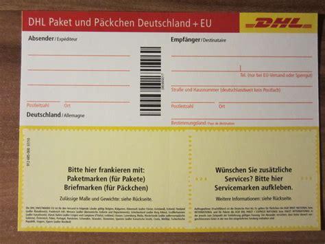 post warensendung mit paeckchenschein bechriften dhl