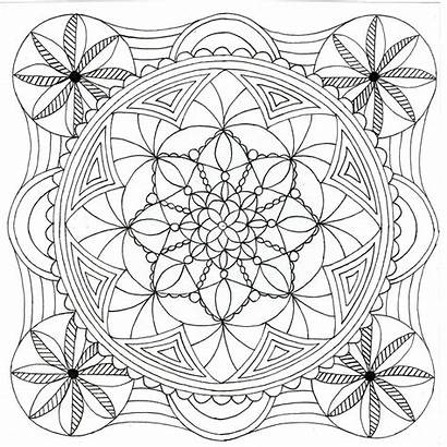 Mandala Square Adult Colouring Coloring Pages Printable