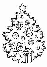 Coloring Tree Christmas Pages Printable Chrismas Holiday Toys Childrens Holidays sketch template