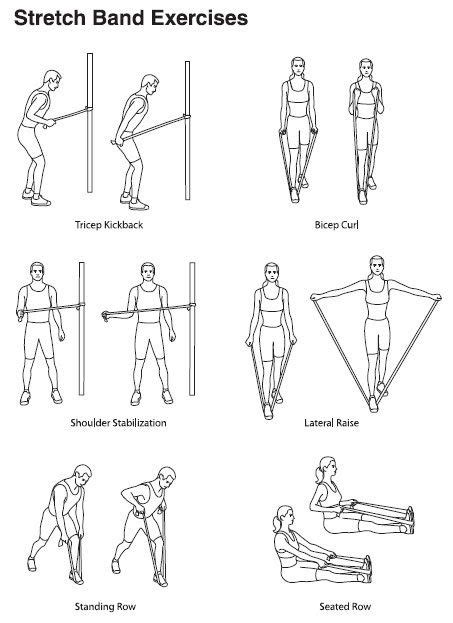 Printable Resistance Band Exercises | (Total 4pcs