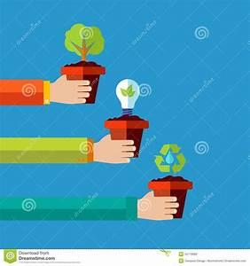Human Go Green Flat Design Concept Background Stock Vector