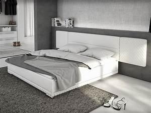 Lit 180x200 Blanc : lit 180x200 cm simili blanc lorik king size design ~ Teatrodelosmanantiales.com Idées de Décoration