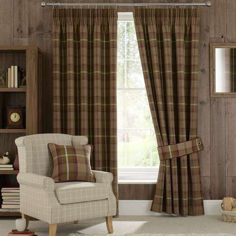 highland check plum pencil pleat curtains dining room