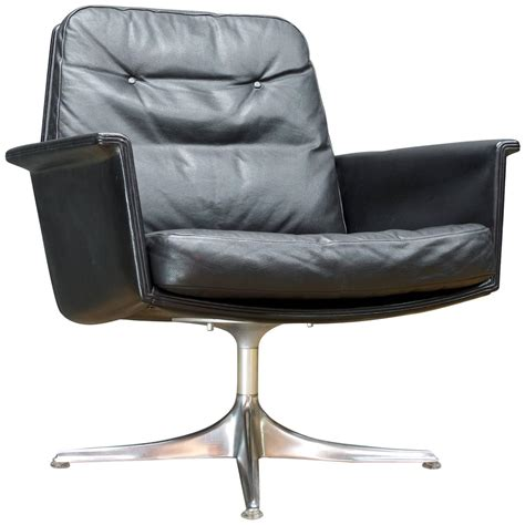 black leather swivel lounge chair by horst bruning for cor