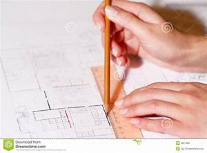 Hand Drawing Architectural Plan With Pencil Royalty Free Stock Image