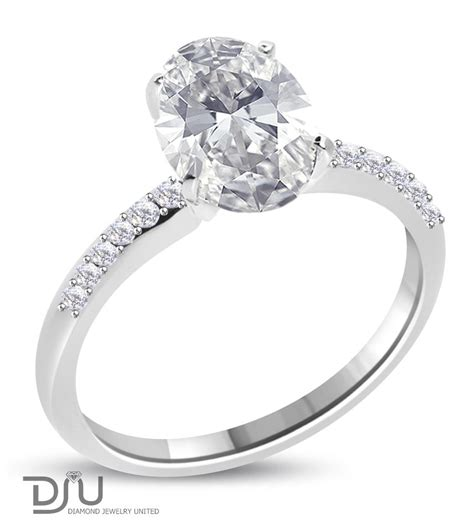 2 karat engagement ring 2 16 carat e vs2 oval solitaire engagement ring set in 14 karat solid white gold oval