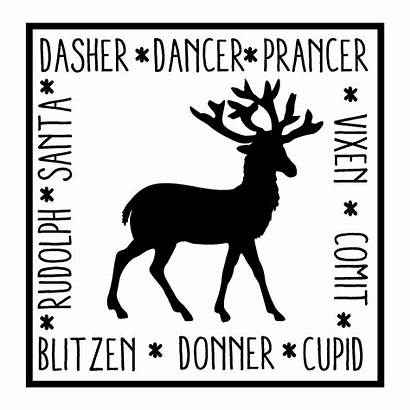 Reindeer Names Quotes Square Decal Dasher Dancer