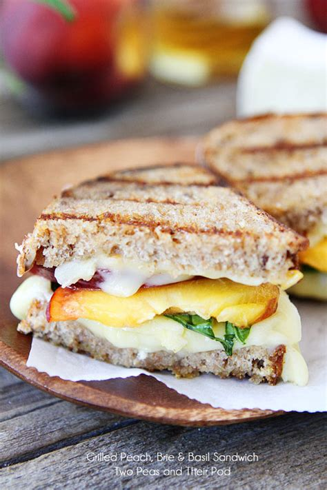 summer sandwich recipes grilled peach brie basil sandwich recipe on twopeasandtheirpod com a simple summer sandwich