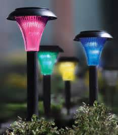 set of 4 solar powered color changing garden stake path lights ebay