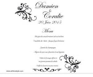 exemple menu mariage menu photophore artdcostyle décorations de mariage location housse de chaise mariage
