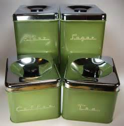 green kitchen canisters avocado green 70 39 s metal kitchen canister set by pantry 4 set in box retro