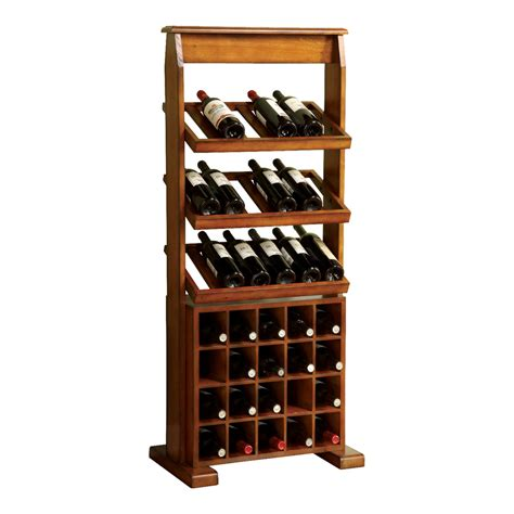 floor wine rack shop furniture of america guarda 38 bottle antique oak