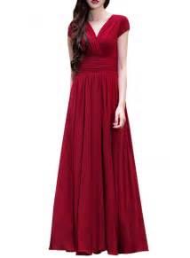 wrapped v neck high waist maxi dress oasap com