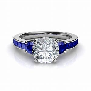 three stone princess cut engagement ring with blue sapphire With blue sapphire wedding ring