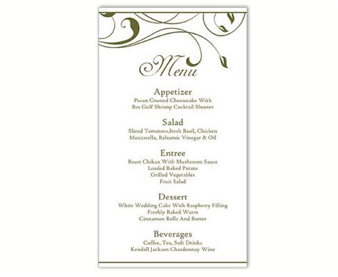 menu card template wedding menu template diy menu card template editable text word file instant green menu