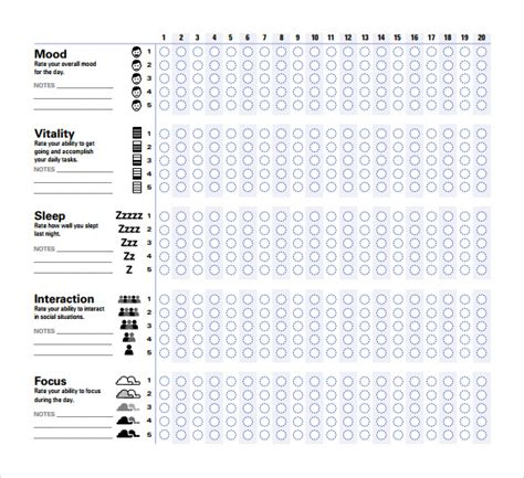 sample mood chart forms   ms word
