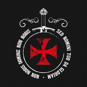 The Knights Templar T-Shirt Crusader Emblem Motto Sword