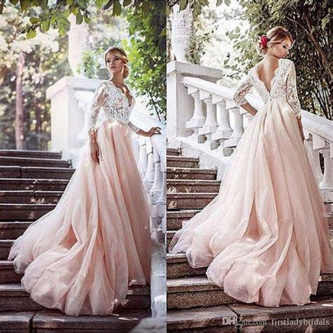Blush Pink Wedding Dresses Deep V Neck Illusion Long 34