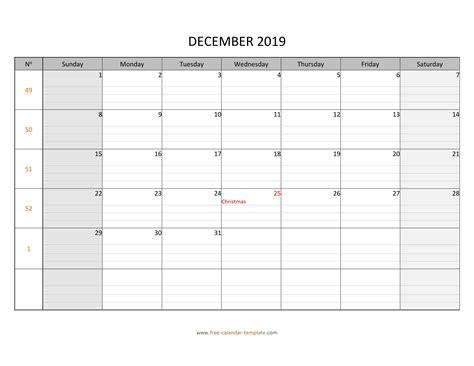 december calendar printable grid lines designed