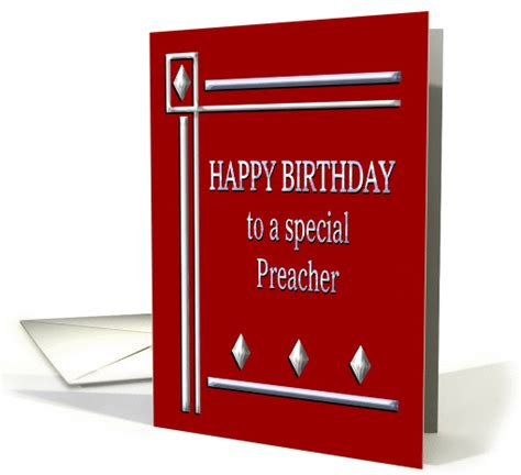 happy birthday preacher red  silver card