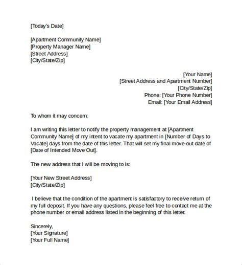 intent  vacate letter  samples examples form ats