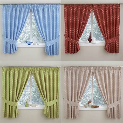 thermal lined curtains ireland pair polka dot kitchen thermal curtains 3 quot top pencil