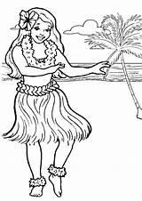 Hula Coloring Hawaiian Dancer Netart sketch template