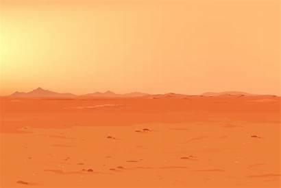 Desert Mars Land Vector Panorama Illustrations Landscape