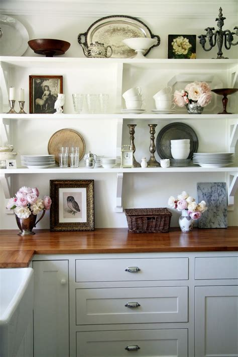 shabby chic kitchen shelving idea  ideal space saver