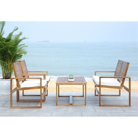 safavieh outdoor living shop safavieh outdoor living cushioned brown acacia wood 4