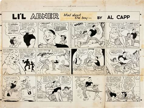 Original Art For Li'l Abner Comic Strip Sunday Dated 7-15
