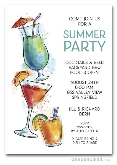 summer cocktails party invitations
