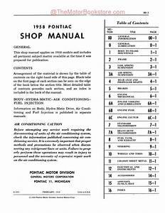1958 Pontiac Shop Manual   Repair Book