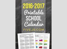 Free Printable School Calendar for 20162017 Five J's