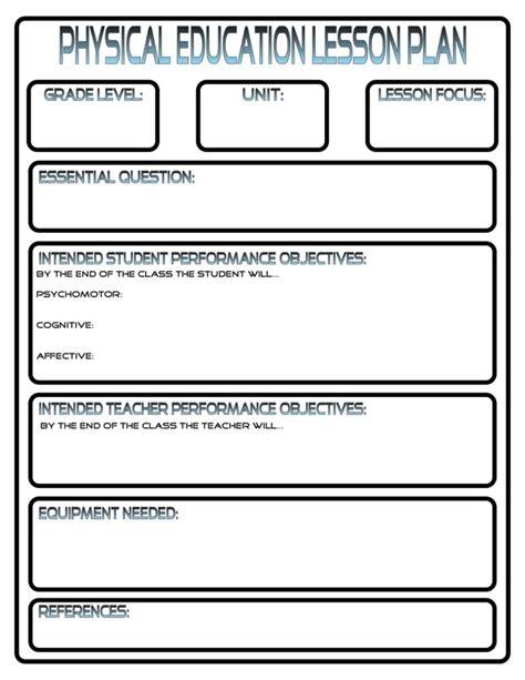 pe lesson plan template lesson plans phys ed review