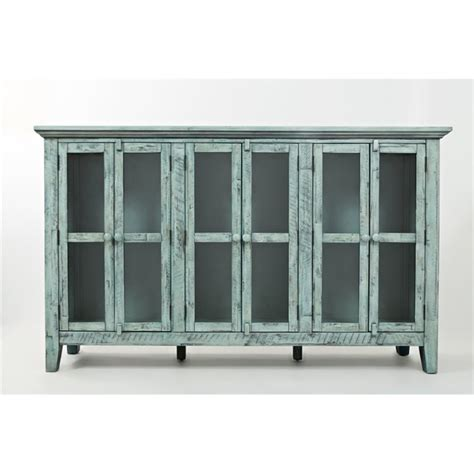 wooden cabinets for kitchen jofran rustic shores sideboard in vintage blue 1615 70 1615