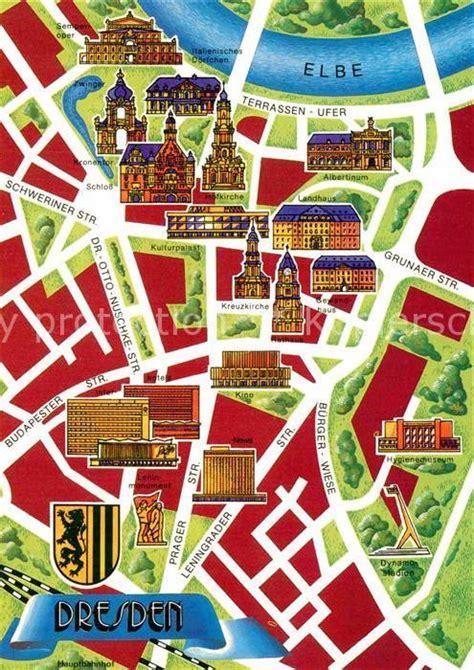 ak ansichtskarte dresden stadtplan stadtzentrum mit