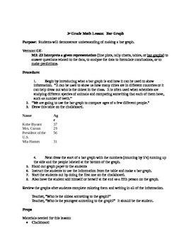 3rd grade bar graph lesson plan by kate curran tpt