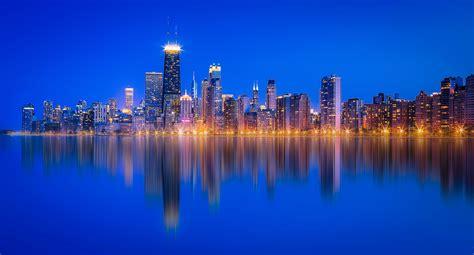 Chicago Lake Michigan Skyscraper Reflection Wallpaper Hd
