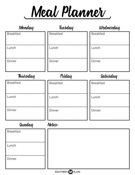 meal plan template pdf free printable menu planner sheet southern plate