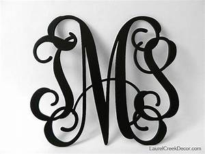 Three initial monogram wall decor in script letters for Black wooden monogram letters