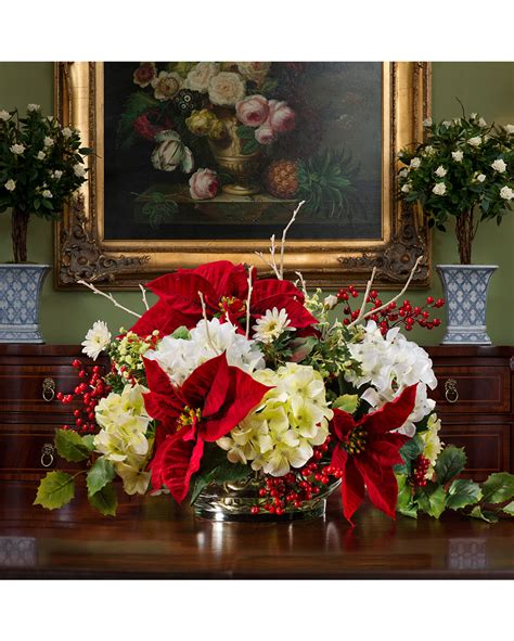 poinsettia hydrangea silk flower centerpiece at