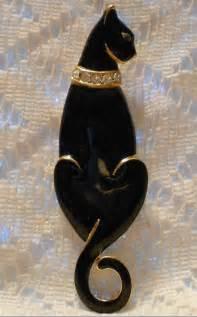 cat pins vintage black enamel cat brooch by trifari