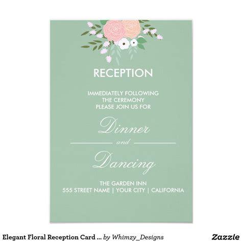 elegant floral reception card mint zazzlecom