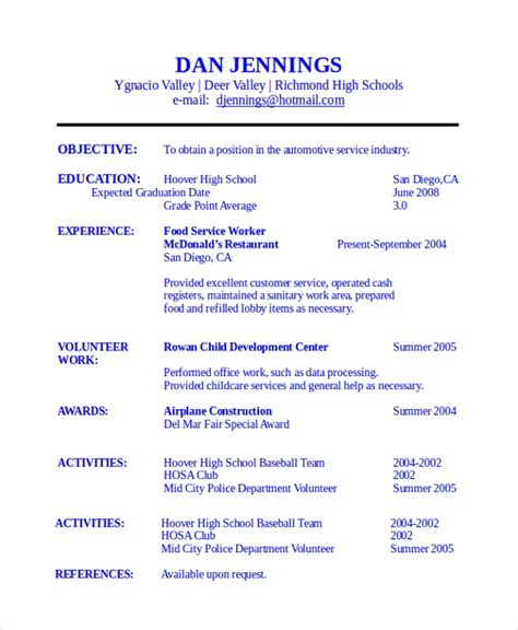 sample student resume templates   ms word