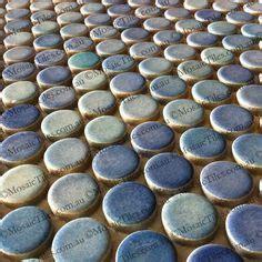 blue grey shades mixed penny  mosaic tiles