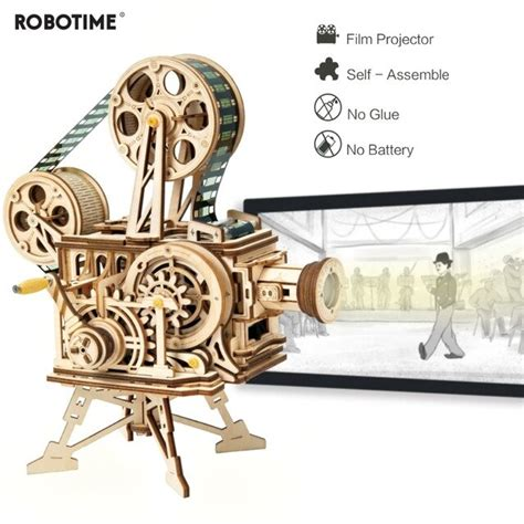 robotime hand crank diy  flim projector wooden model