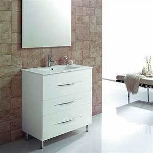 meuble salle de bain 80 cm 3 tiroirs vasque ceramique With meuble de salle de bain 80